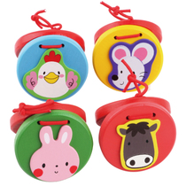 Children percussion Musical instruments wooden cartoon rattles animal round dance Board baby music Baby Enlightenment toys 1-2 years old