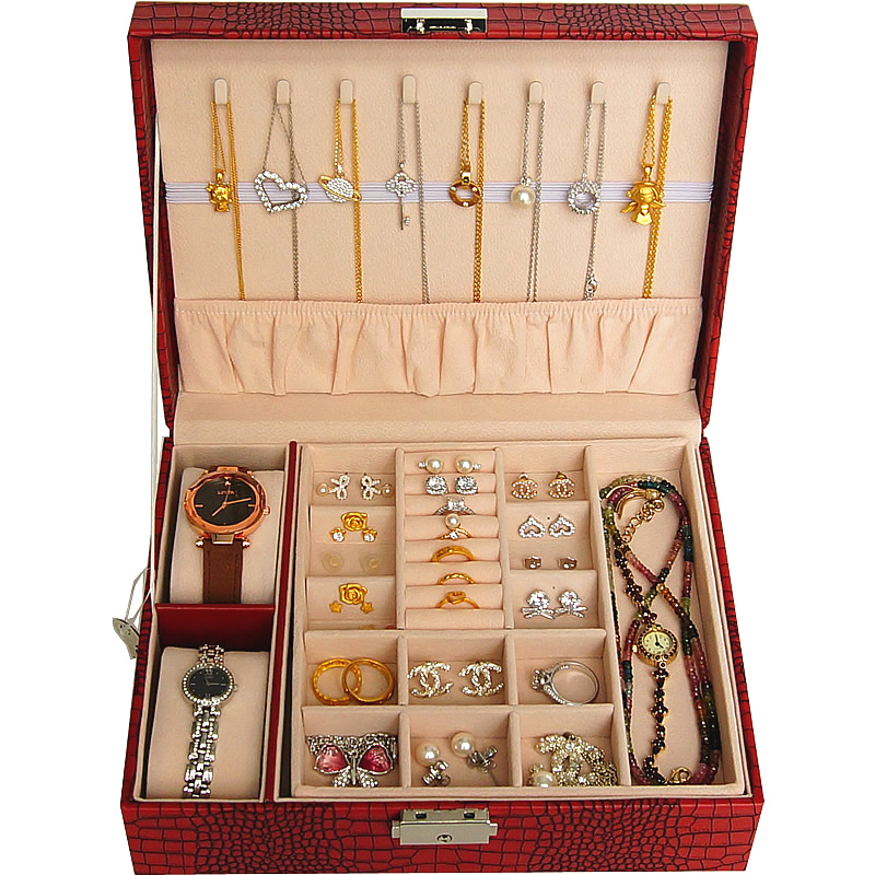 Jewelry box with lock 錶 box ring 釦 bracelet jewelry necklace containing box double-layered princess European style