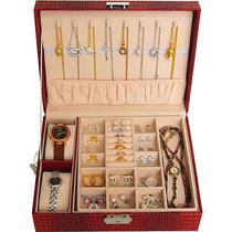 Jewelry box with lock Watch box Ring cufflinks Bracelet Jewelry Necklace storage box Double-layer belt Princess European jewelry