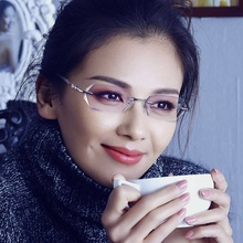 Frameless diamond trimmed glasses for women with myopic degrees finished fashionable diamond-inlaid cutting ultra-light eye frame