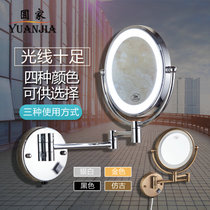 Punch free hole with lamp beauty mirror duplex led makeup Mirror bathroom folding makeup magnifying glass wall-mounted telescopic