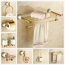 European All-Copper gold towel rack package blue and green bath towel rack bathroom hardware pendant set