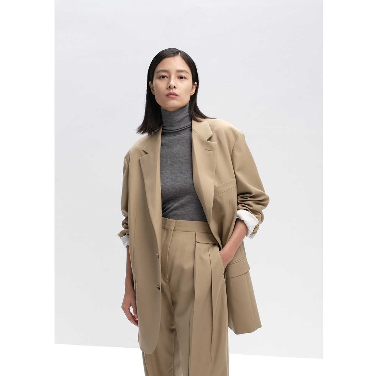 CHICJOC word-of-mouth original Gusi early spring new colors a hundred fashionable slightly down wide shoulders do not pick a person profile suit