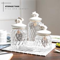 Sugar can glass European creative candy storage jar Ceramic belt cover Nordic crystal storage tank pendant decoration