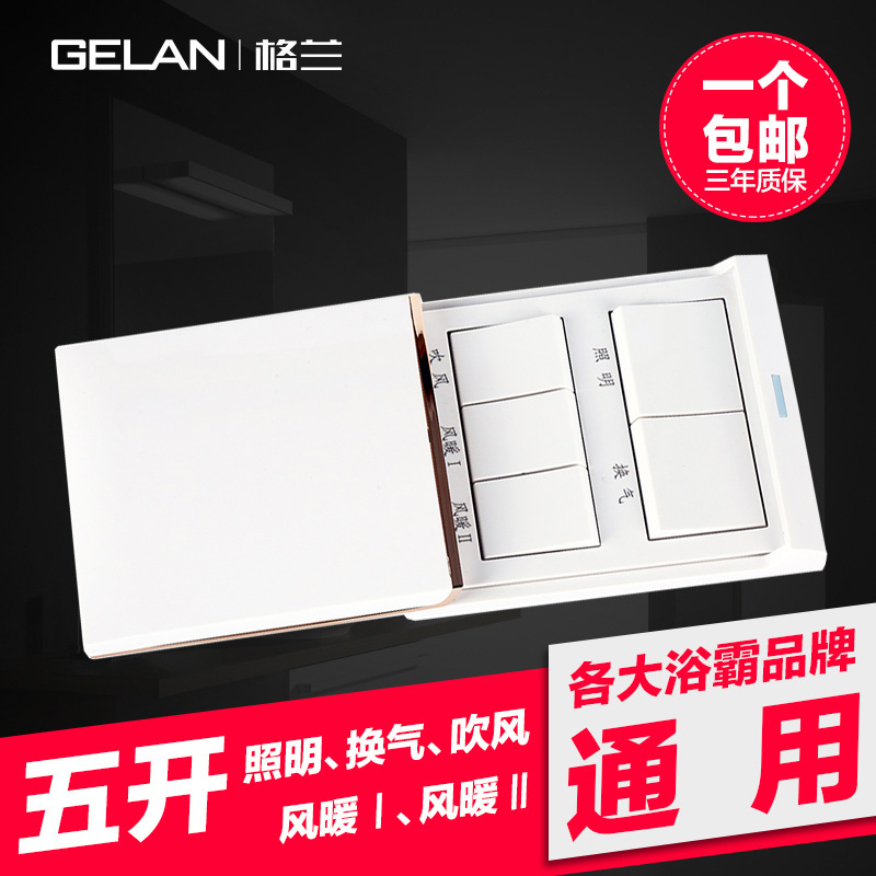 Gran Baba Switch Five Open Sliding Cover with Cover Waterproof 86 Type Wind Warm PTC Carbon Fiber 5 Open General White Panel