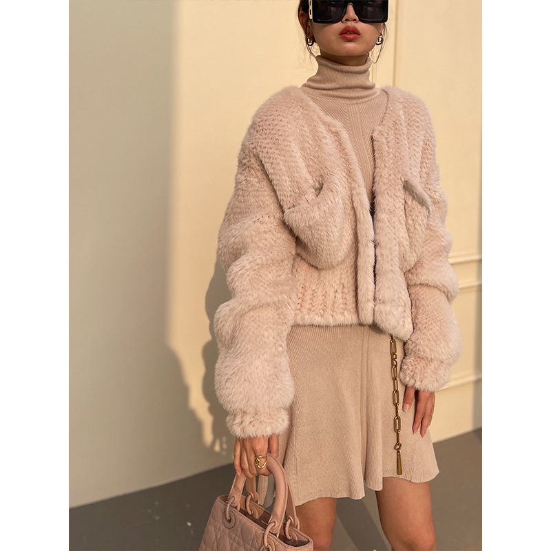Befurs 2021 early spring new French lazy temperament cardigan woven otter whole fur coat short