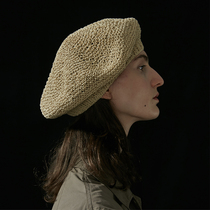 Khaki-colored black hand-knitted beret four seasons THE DRESSMAKER19rarr; (shame-on-you)
