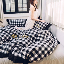 Cotton yarn-dyed flannelette four set for fall winter classic black and white wool embroidered lace duvet cover sheets with rounded corners
