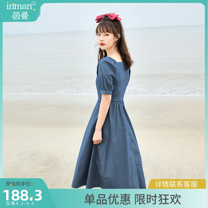 Inman Hepburn blue dress a word female short sleeves 2021 summer new retro square collar temperament mid-length skirt