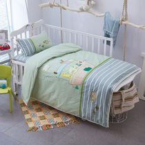 Embroidered wash cotton baby quilt set of three kindergartens cotton bedding bedding set of seven cotton
