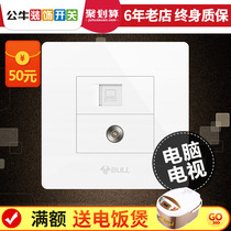 Bull TV computer Socket wall Wired closed-circuit network cable net port two-in-a combination panel switch box