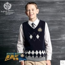 Eaton Ji de school uniform class suit marquee boys and girls knitted Inverness wool clothes cotton vest Hot sale 10b004