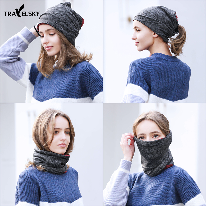 Wind-proof warm outdoor sports headscarf riding ski plus thick cold neck neck set running hat men and women head cover