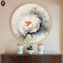 Ya Mei ju new chinese style Xuan Guan decoration painting living room restaurant bedroom peony round painting hand-painted flower oil painting