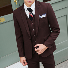 Fuguiniao fall three piece suit men's small suit wine business suits