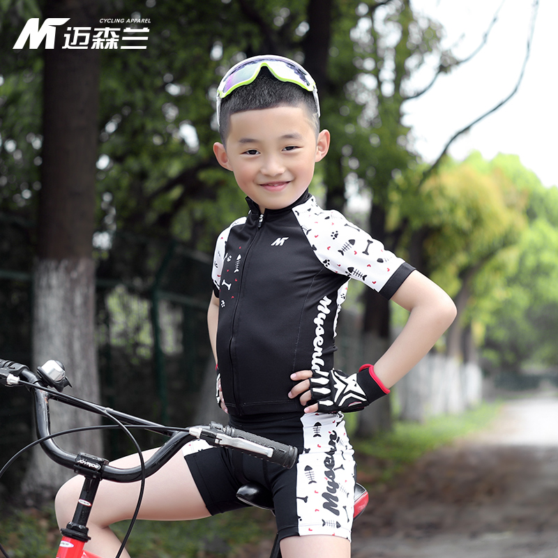 Maisenlan New Kids Cycling Suit Short-sleeved Summer Balanced Cycling Cycling Kids Fish Bones