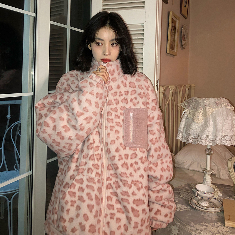 Noisy house pink lamb velvet cotton coat womens 2020 winter new loose thick two sides wearing cotton clothing tide J
