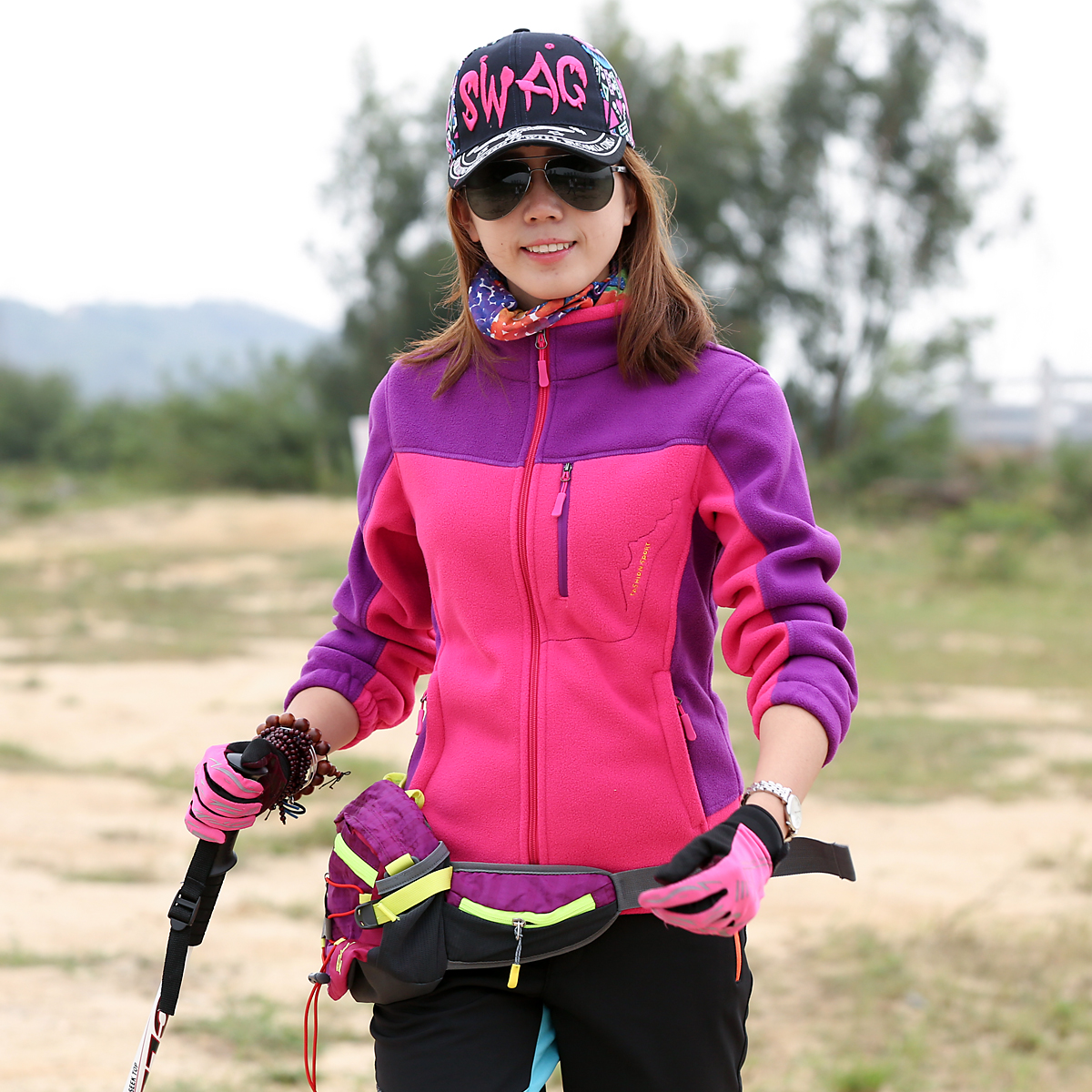 Outdoor grab fleece jacket female fleece cardigan jacket autumn and winter warm Slim Jackets liner autumn and winter