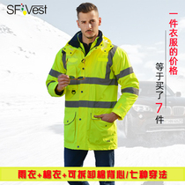 SFVest Reflective Cotton Highway Traffic Safety Clothing Ride Fluorescent Outer Suit Road Policing Cotton Man Coat