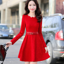 2016 autumn slim dresses red bride back toast dress Fashion Annual Meeting banquet evening outfit