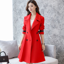 Autumn and winter red woolen coat back outfit bride wedding dress dinner party birthday coat