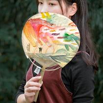 Zhang Lelu x image painting Modern art group fan and wind group fan single-sided cartoon painting fan creative bamboo handle paper fan