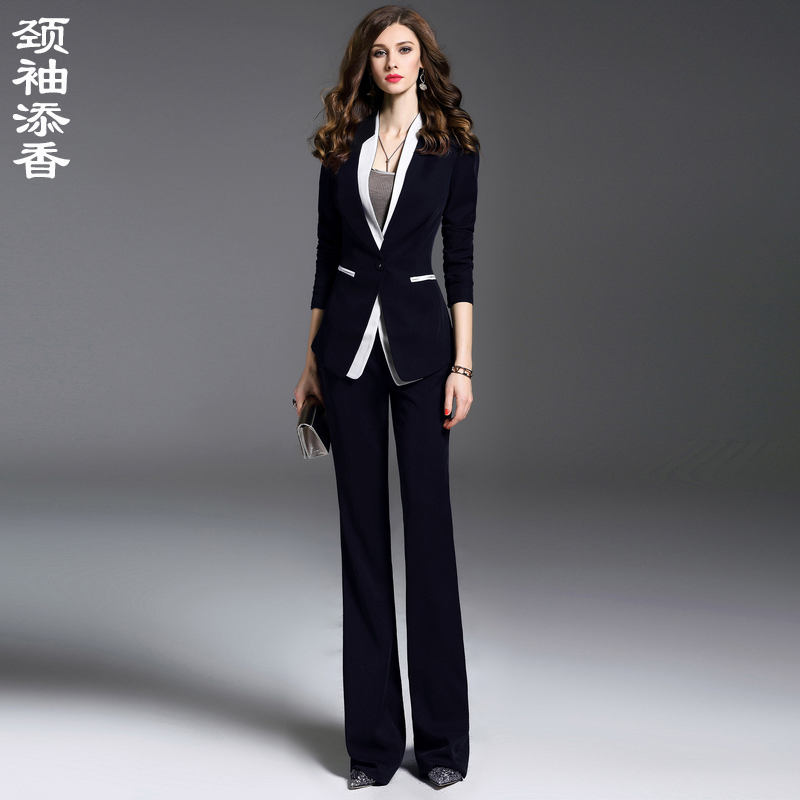Spring fashion temperament foreign interview formal suit trousers two-piece navy blue slim professional suit