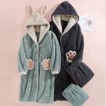 Пара пижамы осень зима коралловый бархат фланель халат длинные женщины и мужчины мило INS прилив сети красный кролик