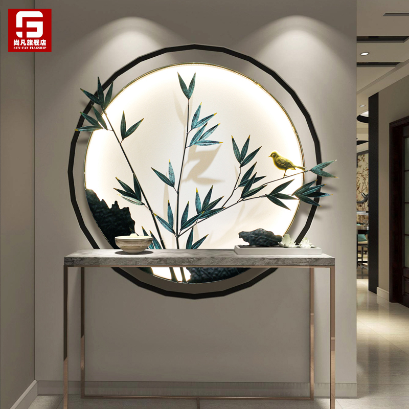 New Chinese style porch wall decoration lamp living room dining room background wall tea room wall decoration wall Zen Pendant