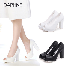 Daphne/Daphne 2018 Coarse-heeled Super-high-heeled Temperament Baitao Waterproofing Table Shallow-mouthed Single Shoe Woman