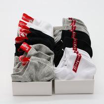 6 Double boxed Supreme Tide brand socks Harajuku air men and women breathable boat socks short barrel cotton shallow socks sports socks