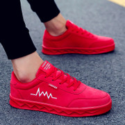 The red shoes winter leisure sports shoes with the trend of Korean students all-match British men's shoes personality