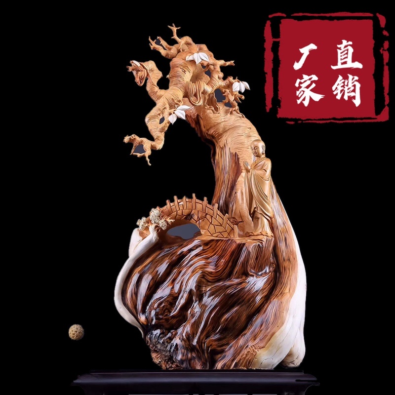 Tai line cliff Bergen carving pieces living room logs natural with the shape of Guanyin Mil carving craft gift decoration wood carving