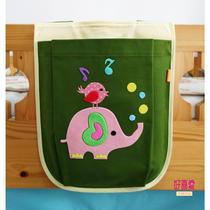 卡通纯棉收纳袋儿童床边挂袋绿色系尿不湿挂袋宿舍杂物袋热卖款