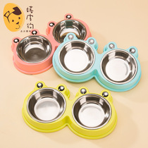 Fruit Frog Stainless Steel dog bowl small and medium-sized canine rice basin can be torn down double bowl pot pet drinking water supplies