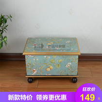 European American wooden Storage stool change Shoe stool country idyllic retro simple noble stool living room Home