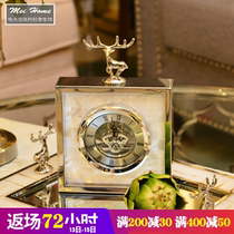 Simple modern high-grade clock European living room metal silver creative clock shell Deer seat pendulum table new products