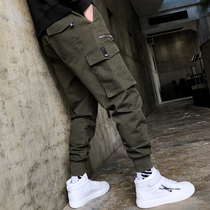 Overalls mens autumn and winter cashmere sports pants Korean version of the trend chic country Tide brand camo beam foot casual pants