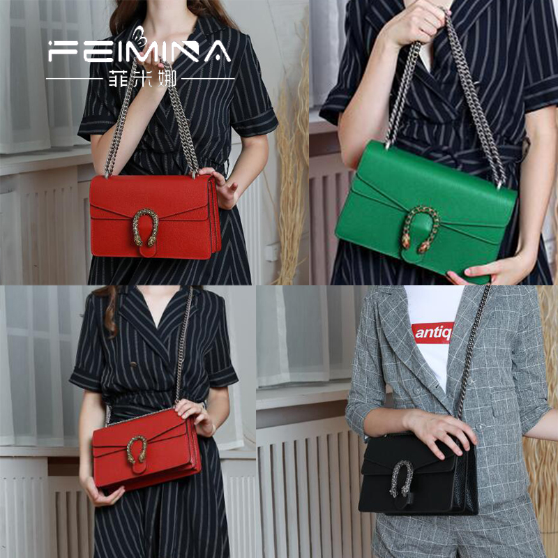 The New Genuine Leather lady bag chain bag, hand-held Dionysian small square bag, small ck, one-shoulder slanting bag, lady snakehead bag