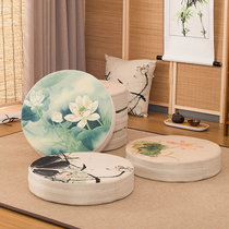 Linen Futon Cushion round thickening can disassembly and washing fabric cushion meditation pad Home tatami Floating window mat