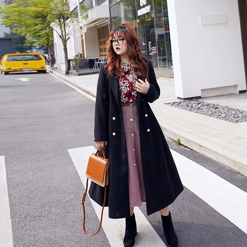 Large size womens winter 2020 new fat mm hair coat womens long version of autumn and winter fat sisters coat is thin