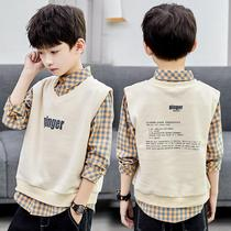 2020 Autumn dress new boys spring and autumn long-sleeved plush shirt foreign pie in the big children thick shirt tide children Korean version