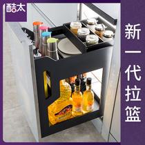 Cool trop armoires de cuisine assaisonnement panier porte tiroir armoire étagère en aluminium armoires de cuisine de stockage en acier inoxydable panier