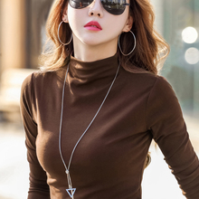 Long-sleeved T-shirt Women Spring and Autumn 2019 New Pure Semi-high Collar Bottom Shirt with Down and Slim Cotton Blouse