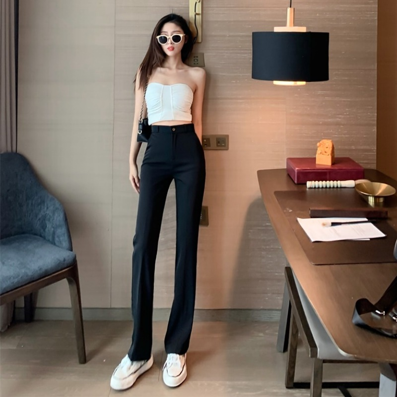 High waist thin pants women straight high waist loose mopping long pants autumn new casual drooping suit pants