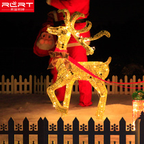 Soft blue Rojo Christmas deer pull car iron net pull car iron deer shopping mall hotel set christmas decorations.
