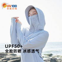 UV100 sunscreen clothes womens anti-UV breathable ice silk jacket summer thin section driving professional sunscreen clothes 21502