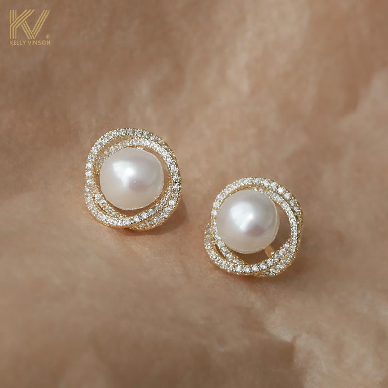 Pearl studs 2020 new trendy retro temperament simple high-level sensor earrings female pure silver ear clip earless hole girl