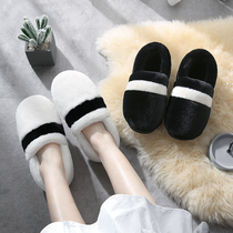 Couples cotton slippers men and women with autumn and winter home indoor thick bottom home warm month hair shoes women ins