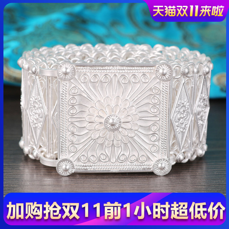 Mothers Day Gift Silver Belt 999 Pure Silver Waist Yunnan Xishuangban Nayu Silver Snowflake Silver Belt Girl